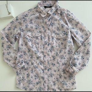 Pink Flower Pattern Button Up Shirt